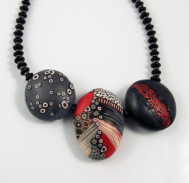 3 Leaf Necklace Graphic Red Loretta Lam Polymer Clay