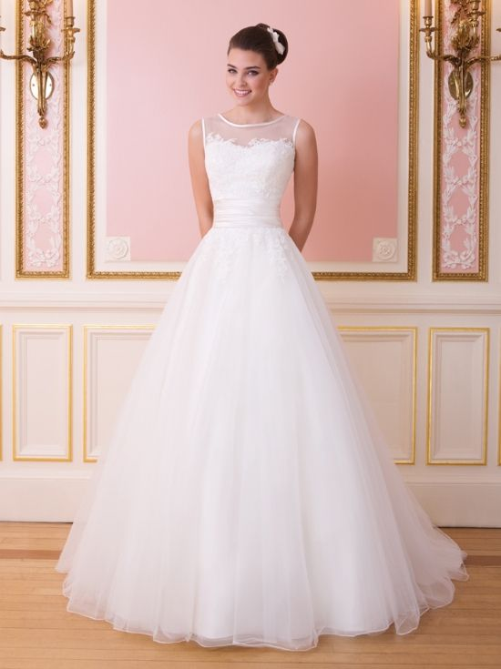 Ball gown wedding dress with illusion neckline and a bodice that is adorned with lace appliques, Sweetheart - 6007