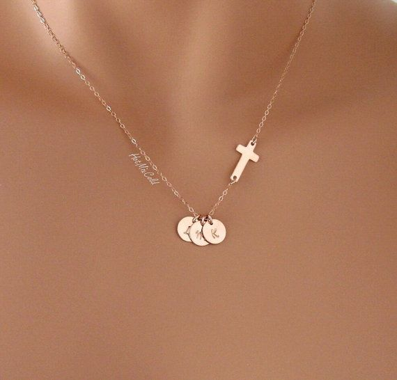 Personalized THREE initials Necklace and Rose Gold Sideways cross, Three Pink Monogram Disc necklace, Religious jewelry, Sister Necklace