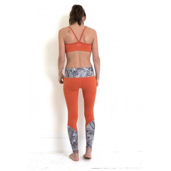 TEVITA OM CONTRAST PRINT SPORTS BRA - burnt orange / yoga / activewear / yoga pants / yoga top / fitness / health / boho / made in bali / yoga wear / yoga clothing / zen / workout / pattern