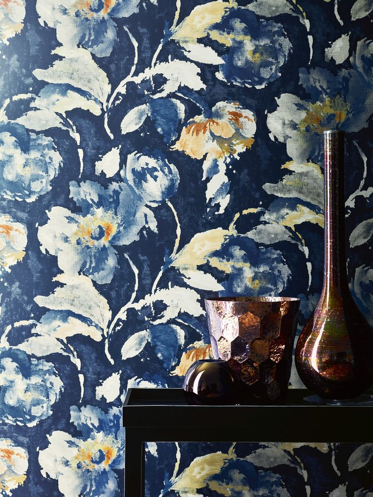 Beatrice Wallpaper In Midnight By Jane Churchill