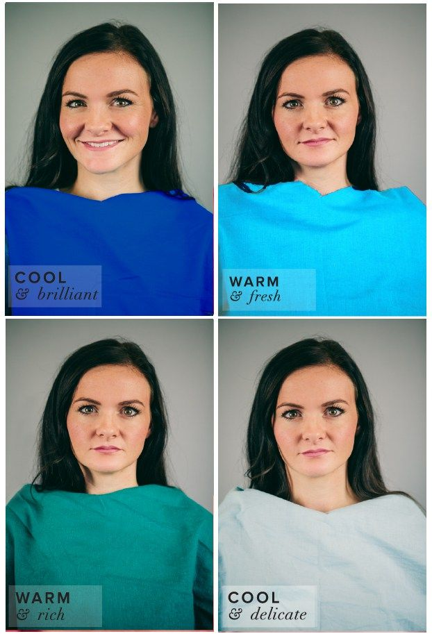 Winter Color Complexion Test.  Different Shades of Blue: Turquoise, Cobalt, Indian Teal, Powder Blue.  Cobalt or Royal Blue best suits her complexion.