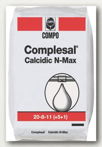 ΥΔΑΤΟΔΙΑΛΥΤΑ ΛΙΠΑΣΜΑΤΑ Complesal Calcidic N-Max  Σύνθεση: 20-8-11 +5CaO+IXN  Πλήρες λίπασμα, με υψηλή περιεκτικότητα σε άζωτο, ασβέστιο και ιχνοστοιχεία. Ιδανικό για τα πρώτα στάδια κάθε καλλιέργειας προάγοντας την βλαστική ανάπτυξη.  Συσκευασία: σάκοι των 25 κιλών.