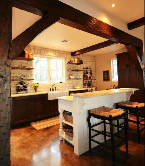 Beam and island placement.  Stone Cottage Guest House in Texas (4)