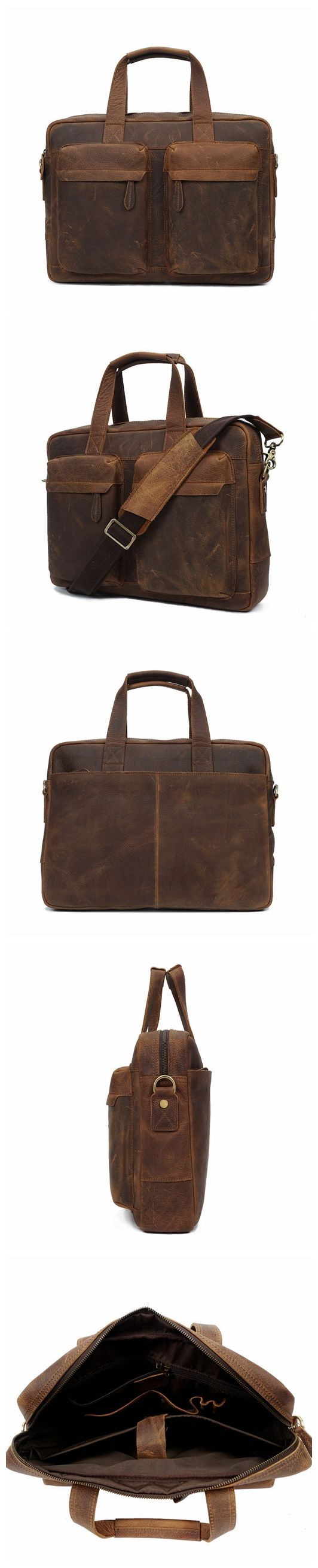 ROCKCOW Top Grade Handmade Mens Leather Briefcase Vintage Style Messenger Shoulder 15 inch Laptop Bag Case Handbag YD8046