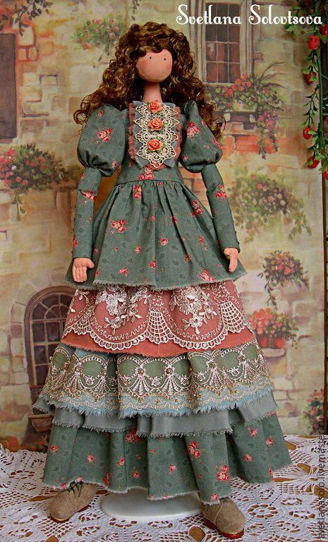 Купить Интерьерная кукла Милана - зеленый, кукла, кукла в подарок, ручная работа, хэнд мэйд