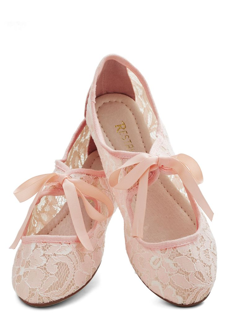 Petal-pink ballet flats with bows. SO CUTE!!!