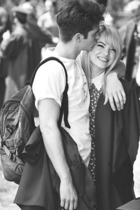 Emma Stone and Andrew Garfield. Emdrew Stonefield. Cuddling up in TASM2 taping breaks ♥