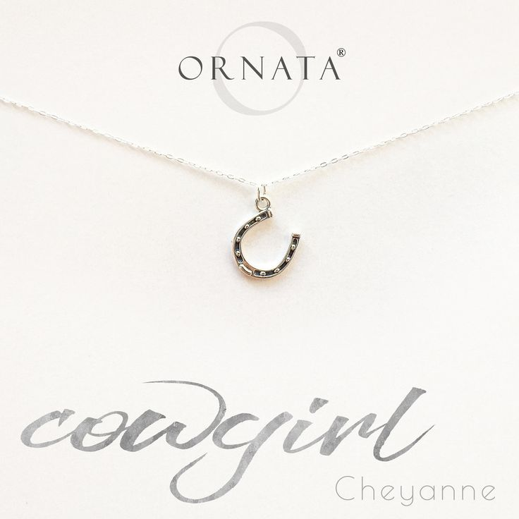 """""""Cowgirl"""" Horseshoe Personalized Sterling Silver Necklace"""
