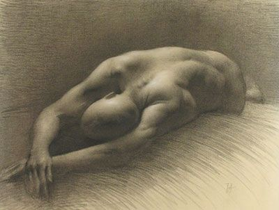 Juliette Aristides, Sutherland Series #5 (Stretching), Charcoal on paper, 15.5x21 in, 2005