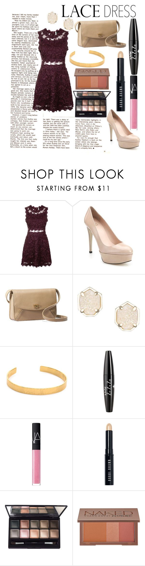 """""""Lace Dress"""" by carolynevers ❤ liked on Polyvore featuring Topshop, Stuart Weitzman, UGG Australia, Kendra Scott, Gorjana, NYX, NARS Cosmetics, Bobbi Brown Cosmetics, By Terry and Urban Decay"""