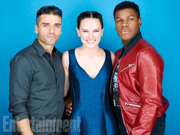 Oscar Isaac, Daisy Ridley, John Boyega, 'Star Wars: Episode VII - The Force Awakens' #EWComicCon   Image Credit: Michael Muller for EW