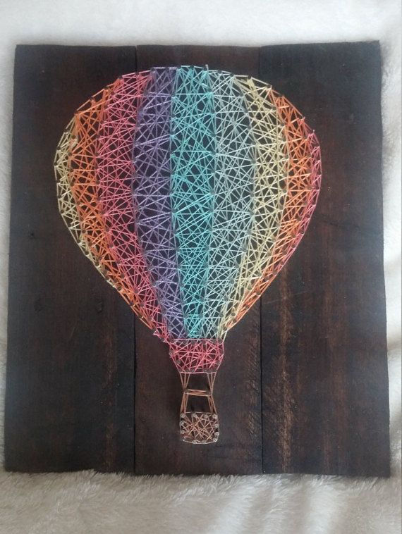 Rainbow Hot Air Balloon String Art by JDavisCreations on Etsy
