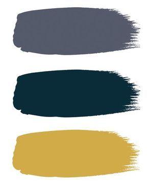 """Un trio de couleurs chic et vintage • Peintures teintes (de haut en bas) """"Juniper Ash"""", """"Hicks' Blue"""" et """"Yellow Pink"""" à partir de 37 euros le litre, Little Greene."""