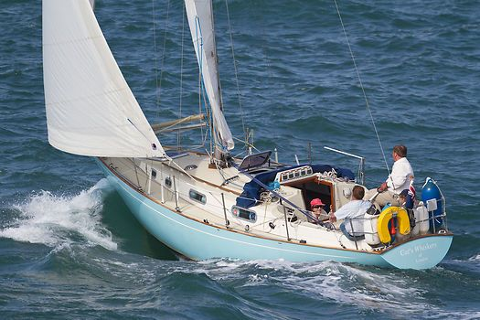 The Contessa 32 yacht 'Cat's Whiskers of London' sailing in the Solent.