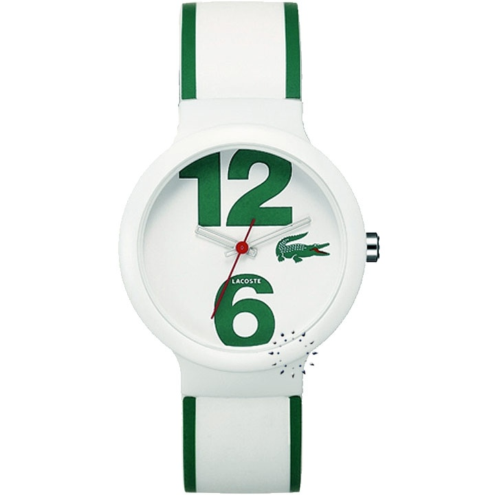 LACOSTE Goa Green and White Rubber Strap Μοντέλο: 2010543 Η τιμή μας: 59€ http://www.oroloi.gr/product_info.php?products_id=23241