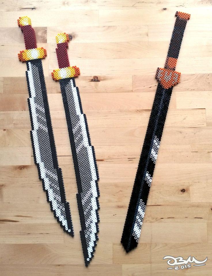Avatar swords perler beads by Oggey-Boggey-Man on DeviantArt: Zuko's Dual dao swords and Sokka's sword.