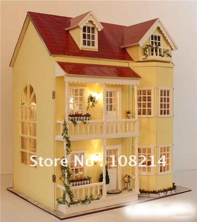 Casa de bonecas DIY, casa de boneca luz, brinquedo do bebê, bonecas de madeira brinquedo, modelo, casa de bonecas em miniatura US $185.00