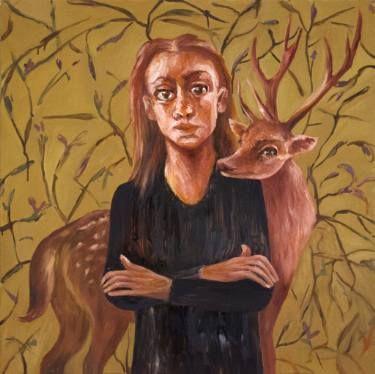 """Oksana Reznik; Painting, """"Girl with deer"""" #art"""