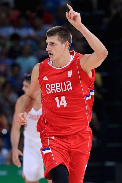 Nikola Jokic Photos Photos - Nikola Jokic #14 of Serbia reacts after scoring against Croatia during the Men's Basketball Quarterfinal game at Carioca Arena 1 on Day 12 of the Rio 2016 Olympic Games on August 17, 2016 in Rio de Janeiro, Brazil. - Basketball - Olympics: Day 12