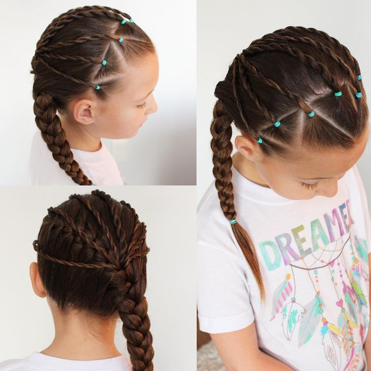 """1,726 Likes, 51 Comments - Chelsea (@sheerbraidedbliss) on Instagram: """"Triangle partings with twists pulled into a diagonal French braid. Her cute dreamer t-shirt is…"""""""