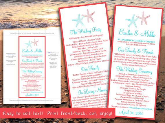 beach wedding program template lazy starfish coral red turquoise teal microsoft word program template