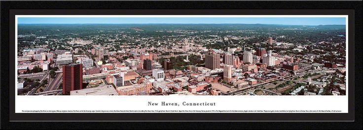 New Haven Skyline Panoramic Picture Framed, Connecticut