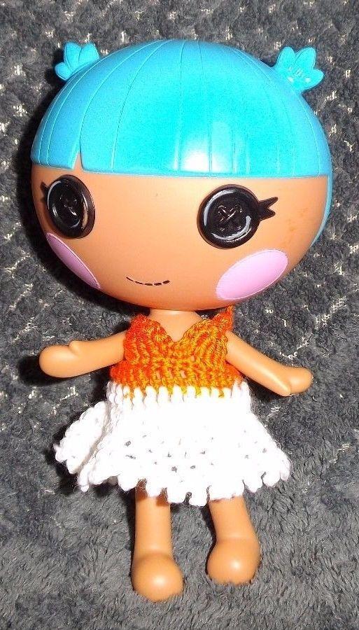 LalaLoopsy Little sister's Orange and white CROCHET dress