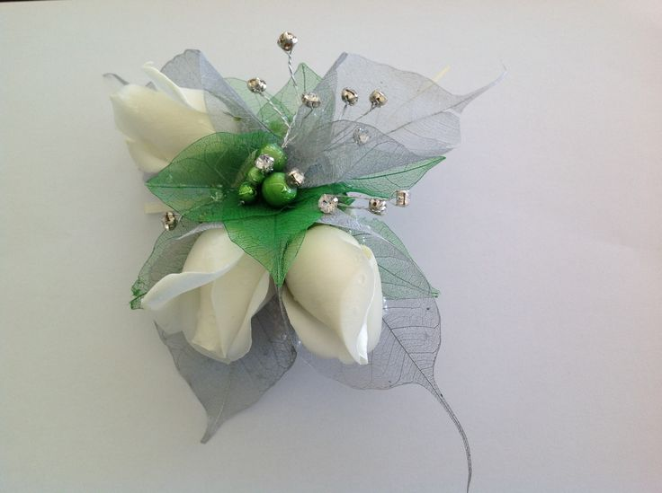 """The lady said """"green"""", diamante and white roses for a ball corsage"""