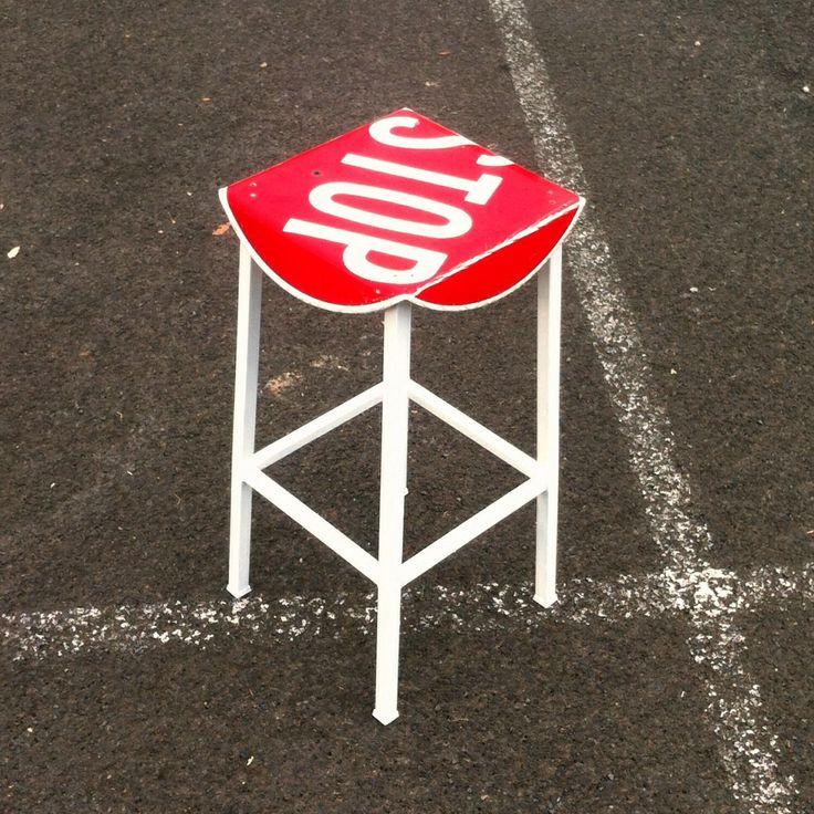 Tall stop sign bar stool