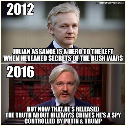 "💭 Ecuador Admits They Silenced Assange Because Clinton Leaks Were 'Interfering' With US Election 💭 REPORT: Julian Assange abruptly had his tether to the outside world purposely cut off Monday, when — as Wikileaks announced on Twitter — his ""internet connection was intentionally severed by a state party."" . Several hours later, Wikileaks added: . ""We can confirm Ecuador cut off Assange's internet access Saturday, 5pm GMT, shortly after publication of Clinton's Goldman Sachs speeches.""…"