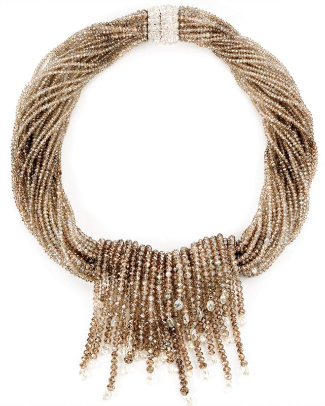 One thousand carats of champagne diamond beads come together in this necklace by Ashok Sancheti.