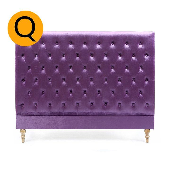 Charlotte Chesterfield Bedhead Queen Size Violet