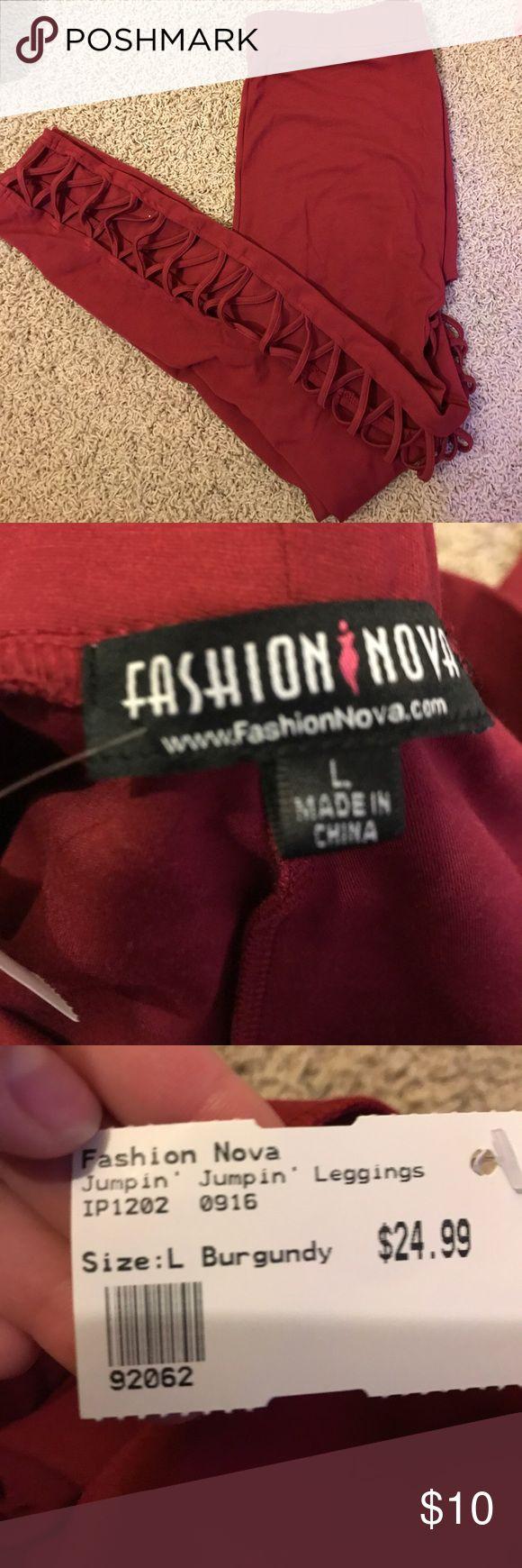 """Fashion Nova Leggings Fashion Nova """"Jumpin' Jumpin' Leggings"""". burgundy color. NWT!! please make offers:) Fashion Nova Pants Leggings"""