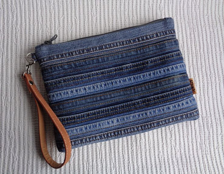 Denim wristlet clutch make up cosmetic zipper bag pouch case recycled by BukiBuki on Etsy https://www.etsy.com/listing/214780288/denim-wristlet-clutch-make-up-cosmetic
