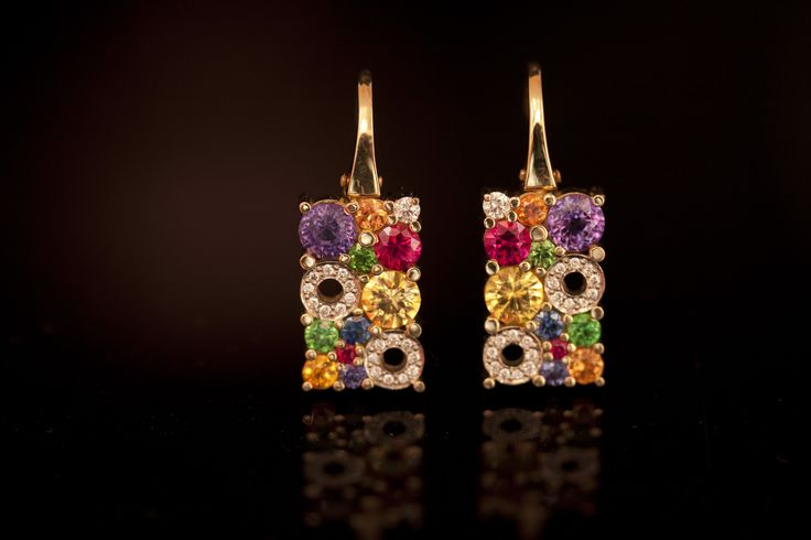 18ct yellow gold multi-coloured drop earrings from the 'Carbonated' collection #CaratsJewellery