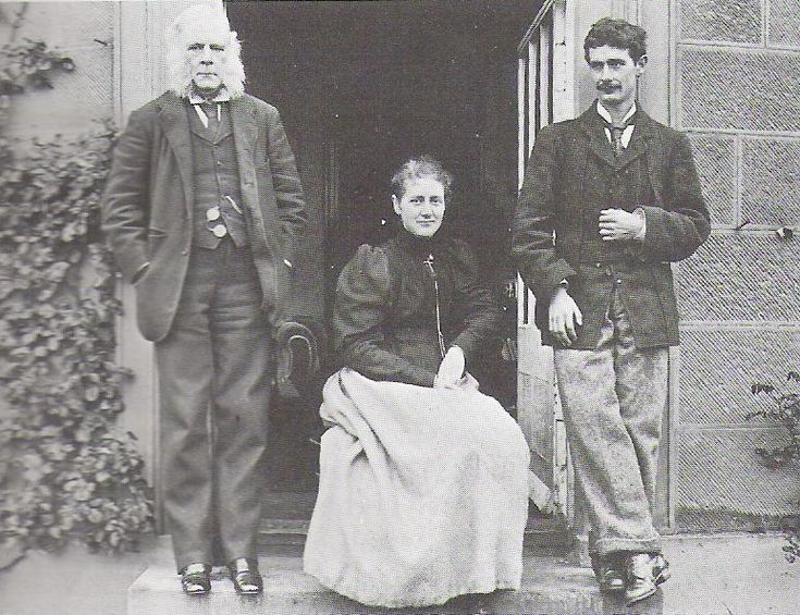 Beatrix Potter in 1894 wither her father Rupert and her Brother Bertie.