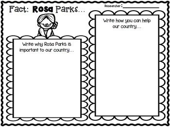 ROSA PARKS INFORMATIONAL WRITING MINI UNIT FOR 1ST-2ND