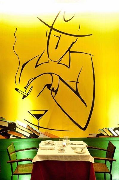 """Fernando Pessoa wall paint in the restaurant """"Café no Chiado"""", Lisbon."""