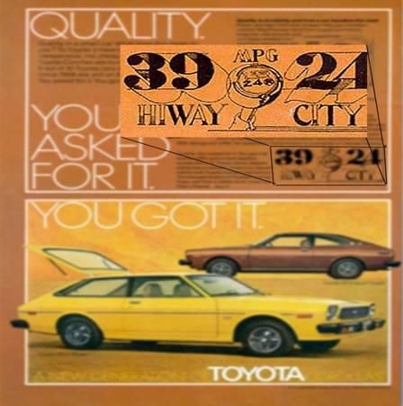 1973 - Toyota becomes one of the first automotive manufacturers to post EPA gas mileage ratings on its vehicles, establishing the brand as a progressive leader in promoting energy efficiency in vehicles.