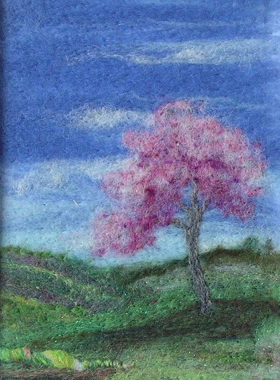 Fibra mano del arte de la aguja Paisaje Felted Árbol rosado por pdlugos