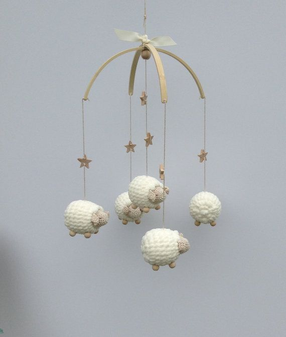 Baby Mobile Nursery Mobile Crochet Sheep by EllaLeeRoseOriginals