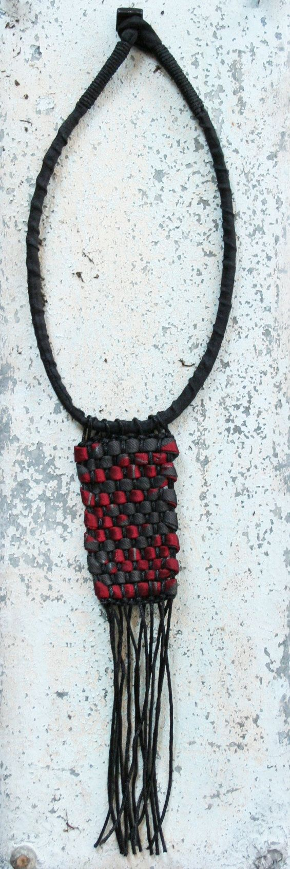 Tribal collana in seta text02 stile tribale/ riciclo di aBimBeri