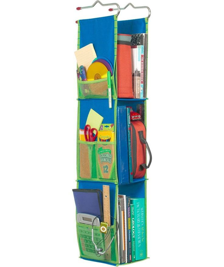 Blue Mesh Hanging  Locker Organizer with 3 Shelves for School Locker Storage