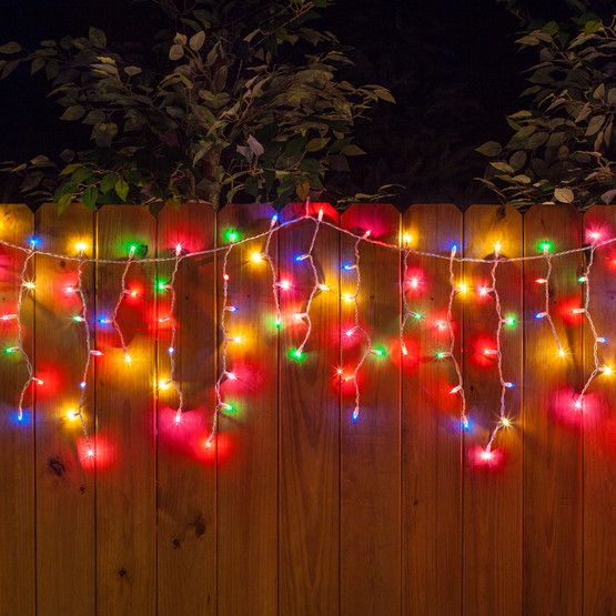 backyard party lighting ideas. 150 multi red green pink blue yellow icicle lights white wire backyard party lighting ideas