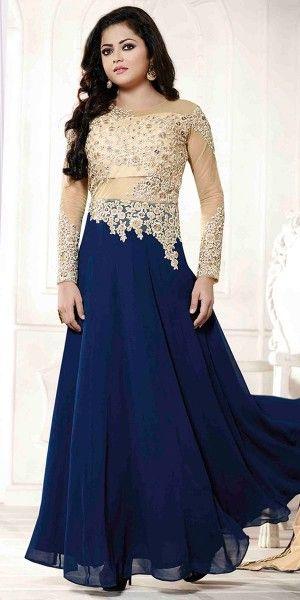 Pretty Navy Blue And Cream Georgette Designer Anarkali Suit With Dupatta