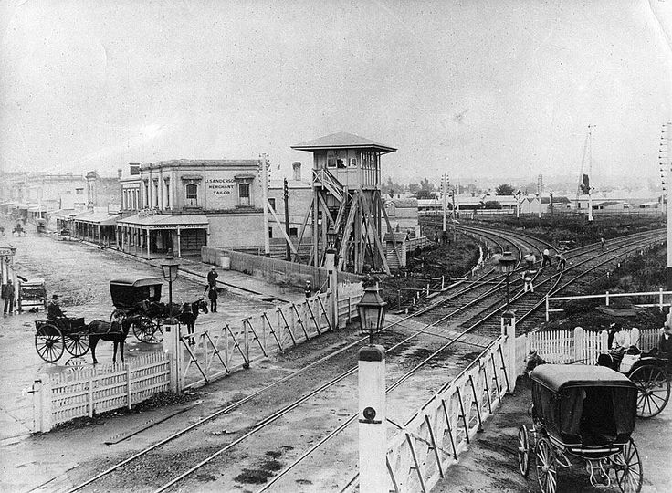 Swan Street, Richmond, looking east between 1874 and 1884. The tracks curving away to the left are towards East Richmond, the tracks curving to the right are to South Yarra. This photo (and the information) is from Mark Bau's fabulous Victorian Railways website - http://www.victorianrailways.net/