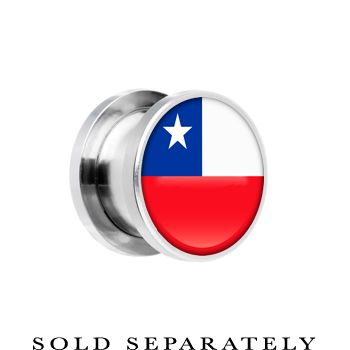 Chile Flag Stainless Steel Screw Fit Plug | Body Candy Body Jewelry #bodycandy