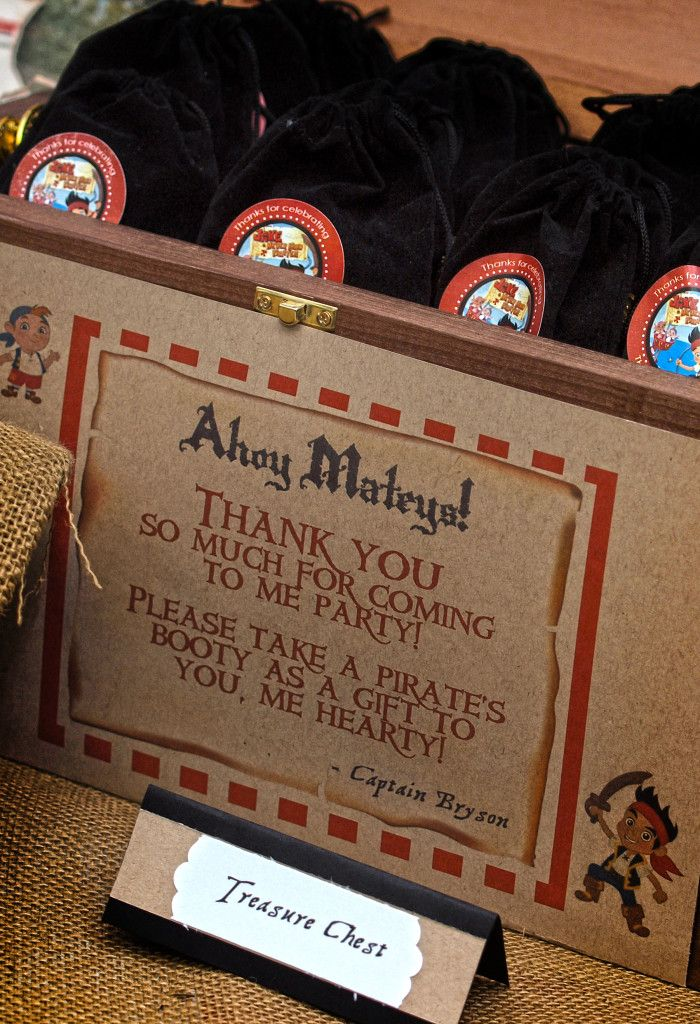 Pirates Booty Favors - fill drawstring bags with plastic gold coins and chocolate gold coins and place in a treasure chest! #DIY More event decor and party inspiration on 3d-memoirs.com