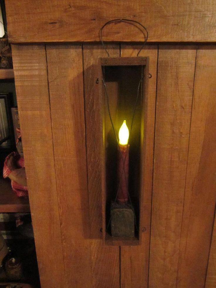 Primitive Folk Art Cheese Box Handmade Wood Candle Holder
